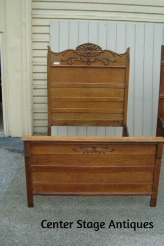 58761 Antique Victorian Solid Oak High Back Full Size Bed
