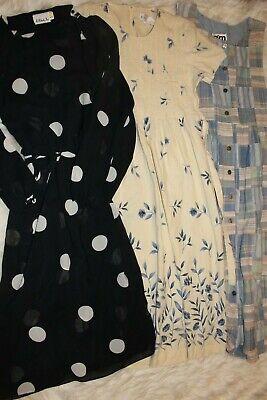 WOMENS FLORAL POLKA DOT BOHO VINTAGE DRESS CLOTHES LOT SIZE 10 M L 70S 80S 90S - 70's Dress Attire