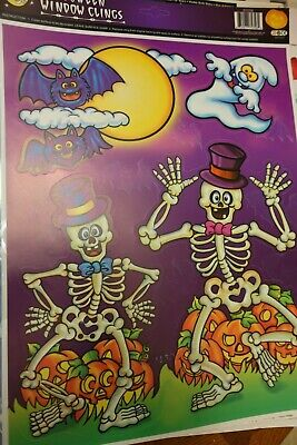 Halloween Decorations Coloring Pages (1 page Vintage Color Clings Skeleton Bat Halloween Window Clings )