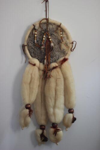 Handcrafted Mandela Dream Catcher Rabbit Wool Pelt Skin Feather Aztec Indian