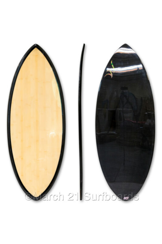 "52"" Epoxy EPS Skimboard Medium Pin Tail Bamboo Carbon Skim Surf"