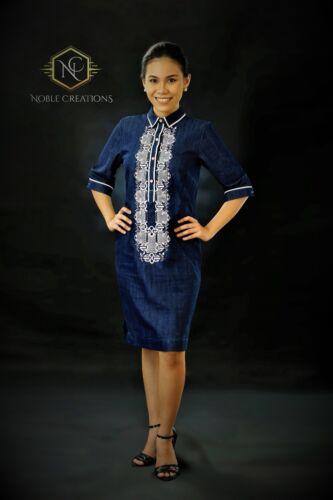 Filipiniana Embroidered Barong Denim Dress Philippines Terno Maria Clara - Blue