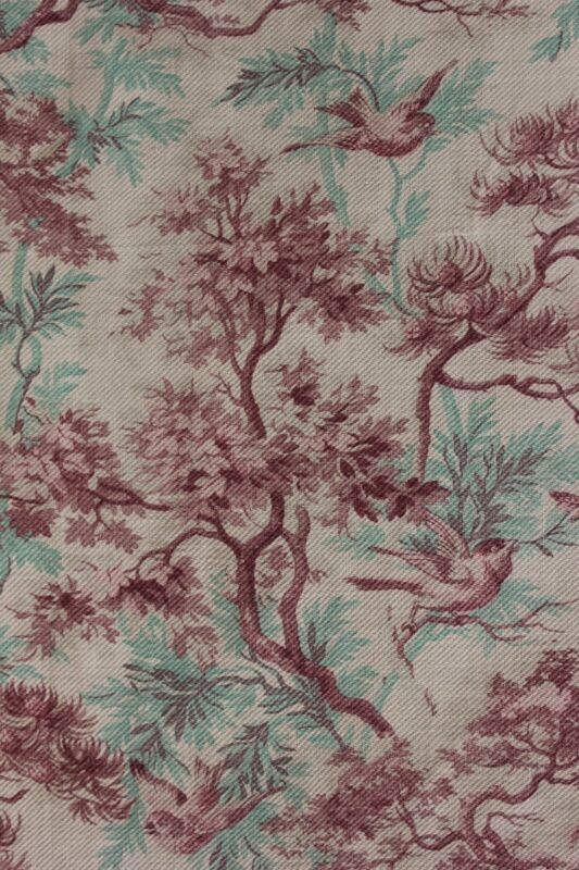 CURTAIN Antique 1880 French bird printed cotton twill weave upholstery weight
