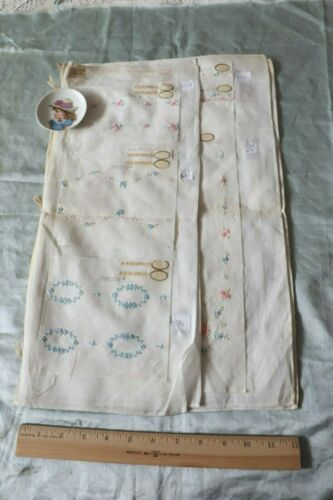 Antique Swiss c1920s Hand Loomed Floral Cotton Embroidery Samples~Dolls