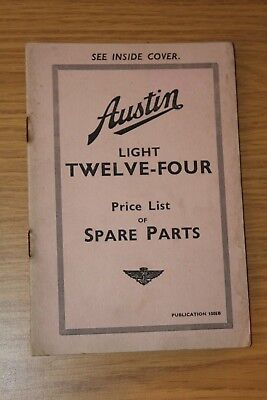 Austin Four Light - Austin Light Twelve-Four  Price List Of Spare Parts 1005B Dec 1933