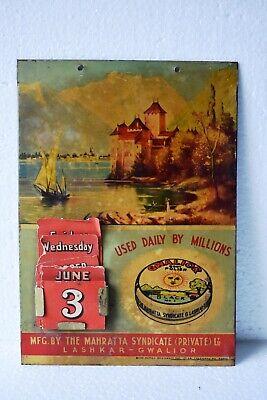 "Vintage Gwalior Boot Polish Advertising Tin Sign Calendar Depicting Scenery ""11"