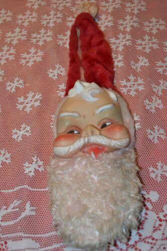 Vintage Christmas ~ Santa Face Stocking ~ rubber face zipper hat