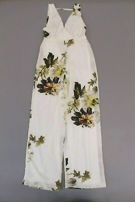 Hope & Ivy Women's Floral Backless Jumpsuit SV3 White Size US:2 UK:6 NWT