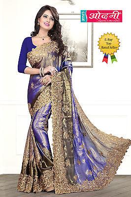 Indian Bollywood Style Embroidered Sari Navy Blue Satin Chiffon Party Wear Saree