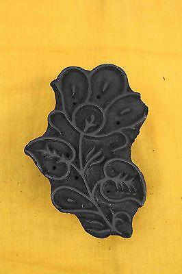 Vintage Indian Wood Printing Block Carved Wood Block Stamp Unique Flowers Heena