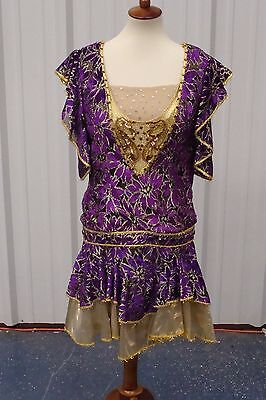 Custom Purple Gold  Dress Show Girl Cabaret Show Prom Costume**FREE SHIPPING!!](Show Girls Costumes)