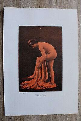 Jugendstil Kunst Blatt 1905 Erotik Frau NACH DEM BADE Akt Nude Erotic Risque