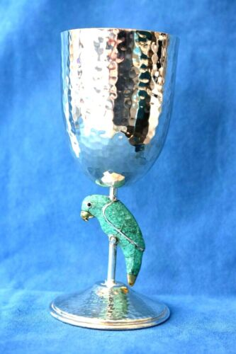 Large Vintage EMILIA CASTILLO Mexico Stone Parrot Hammered Silver Goblet Cup 8AV
