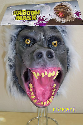 ANGRY BABOON FULL LATEX MASK WITH HAIR COSTUME MR135003](Baboon Costume)