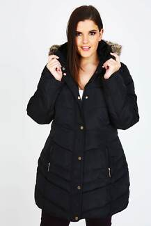 Black Quilted Puffa Coat With Fur Trim Hood 14/16 Brand New
