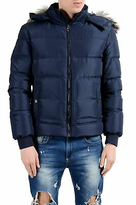 Versace Collection Men's Coyote Fur Down Blue Full Zip Hooded Parka Jacket Coyote Hooded Parka