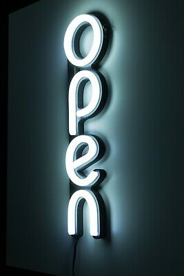 Led Open Sign For Business Bright White Classic Modern Vertical Neon Style