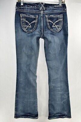 Amethyst Jennifer Boot Cut Flare Womens Jeans Size 7 Blue Meas. 28x32.5 Boot Cut Flare