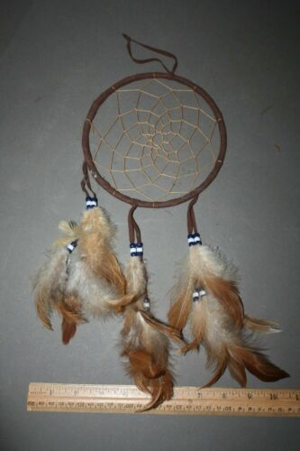 VINTAGE BROWN FEATHER & BEAD MANDALA NATIVE AMERICAN DREAM CATCHER WALL HANGING