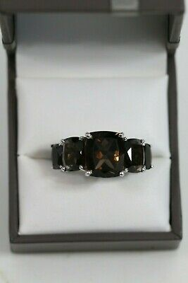 Ladies Silver and Smokey Quartz Ring