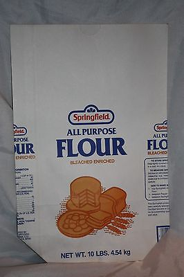 Vintage 10 Lb Never Used Empty Springfield Paper Flour Bag Sack New Old Stock