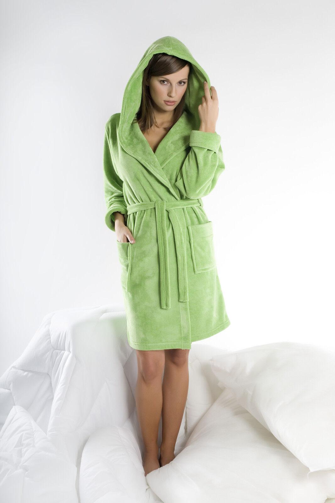 0d2e990fa0 Womens Cotton Blend Hooded Bathrobe Dressing Gown Housecoat UK Robe Size 8  10 12
