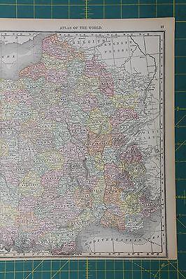 France Vintage Original 1892 Antique Rand McNally World Atlas Map