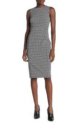 Calvin Klein NWT BLACK WHITE Houndstooth Sheath Midi Dress Size 2,4,6,8,10,12,14 Black Sheath Dress