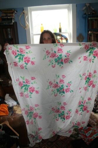 """Vintage Rose Print Tablecloth Cotton Feel approx 60"""" x 50"""""""