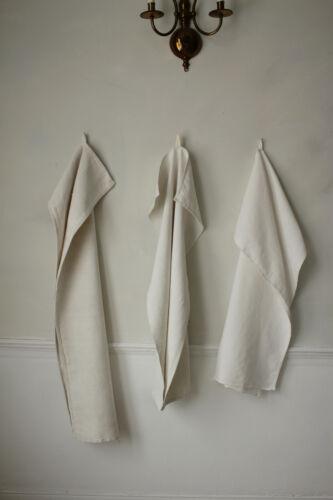 Set of 3 Antique European Natural Fiber Towels Mismatched & Rustic