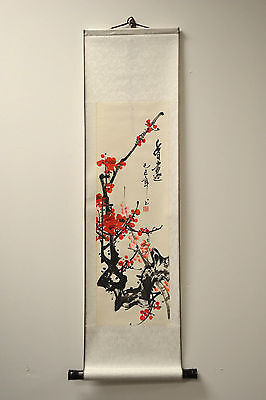 "Chinese Scroll Painting Home Decor Cherry Blossom 36""L 73-128b"