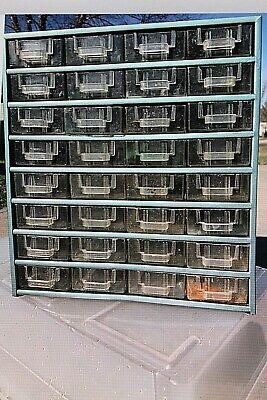 Vintage Metal 32 Drawer Nutbolt Small Parts Storage Cabinet Bin Organizer