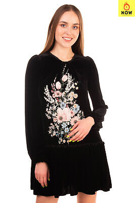 RRP €1165 N 21 Velour Flounce Dress Size 40 / S Silk Blend Embroidered Flowers