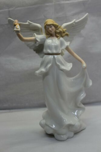 Illuminated Porcelain Angel Holding Instrument by Valerie BELL RTL$41