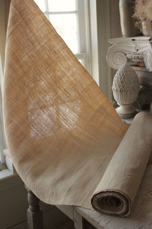Grainsack fabric Vintage natural 6.4 YARDS homespun linen hemp 28 inches WIDE