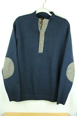 FILSON Men's Sweater Wool Henley Elbow Patches Waxed Size M B