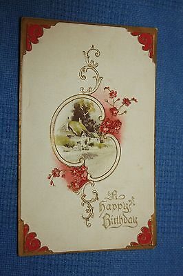 Vintage Postcard A Happy Birthday With House Scene And Red Flowers