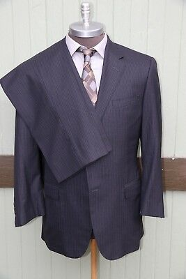 Hickey Freeman Recent Custom 180's Wool Blue Pinstripe Two Button Suit 44L