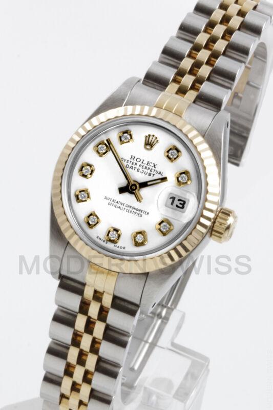 Rolex Ladies Datejust 18k Gold & Steel White Diamond Jubilee 69173 Quickset
