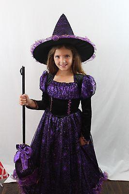 Deluxe Hexe Kostüm Schwarz Lila Boutique Kleid Hut Besen Glitzer Kinder Neu ()