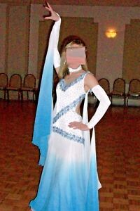 Competition Show Dance Dress Gown Ballroom Standard Smooth Blue & White - Small