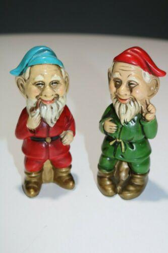 2 Vintage Pottery or Composition Gnome Dwarf Figures Figurines Japan