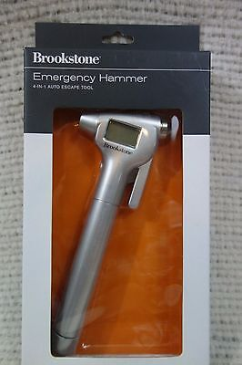 BROOKSTONE EMERGENCY HAMMER 4-IN-1 AUTO ESCAPE TOOL   NEW