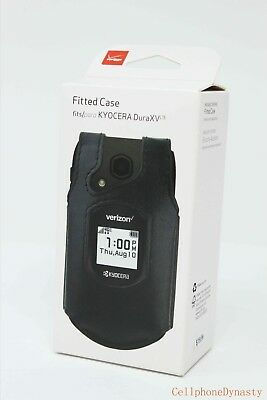 Kyocera Leather (Verizon OEM Fitted Leather Case for w/ Clip Kyocera Dura XV DuraXV LTE - Black )
