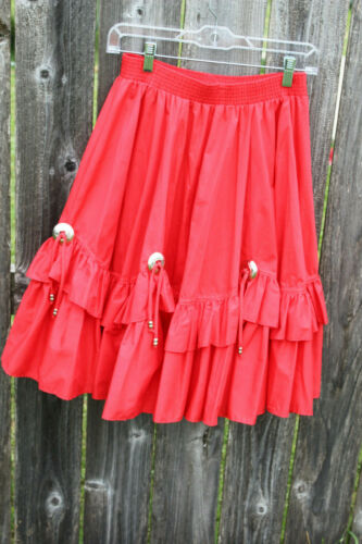 Authentinc Vintage Malco Modes Western Fancy Red Dance Skirt Size M Style 3501