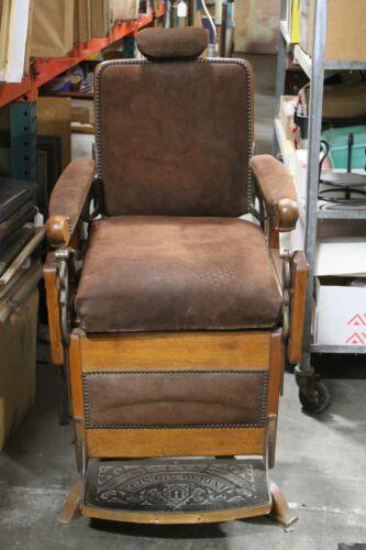 Rare Louis Hanson Victorian Oak Barber Chair