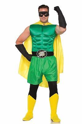 ADULT HERO MUSCLE CHEST - GREEN Superhero Villain Cosplay costume Halloween  2-6 - Hero Villain Halloween Costumes