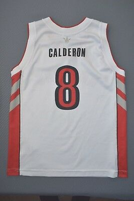 c8e89589494 4.7 5 TORONTO RAPTORS USA  8 CALDERON NBA CHAMPION BASKETBALL JERSEY SIZE  BOYS L