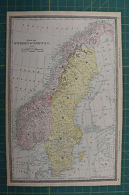 Sweden Norway Vintage Original 1892 Rand McNally World Atlas Map Lot