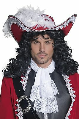 Deluxe Pirate Hat Mens Captain Hook Red White Feather Halloween Costume Adult - Captain Hat Halloween